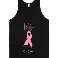 Refuse to lose Breast Cancer Pink Ribbon-Unisex Black Tank