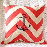 Anchor Pillow Cover Beach Home Decor in Coral and Natural Chevron with Navy Blue Embroidery