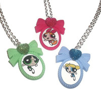 Powerpuff Girl Cameo Necklace, Choose Blossom, Bubbles or Buttercup, Kawaii Jewelry