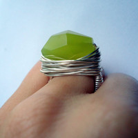 Lemon jade silver ring - any size - wrapped ring - natural stone ring - gemstone ring - cocktail ring - chunky ring - thick ring