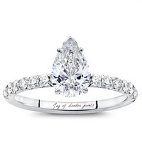 SALE  A Perfect 2CT Pear Cut Solitaire Russian Lab Diamond Engagement Ring