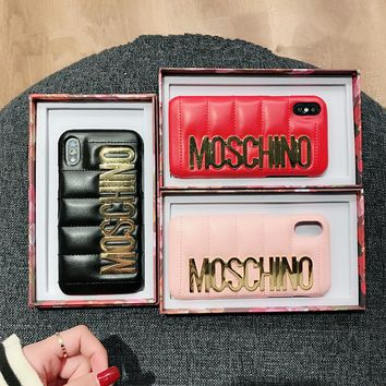 """""""Moschino"""" Fashion Leather Simple Letter iPhoneX/8/6S Hard Phone Case iPhone7 Plus Women Apple Phone Shell"""