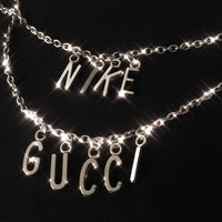 GUCCI Neck Chain X NIKE Neck Chain Tredning Word Metal Chain B104493-1 Silver