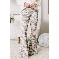 Camo Around Here Often? Corduroy Camo Flare Jeans