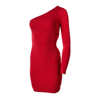 Guess Womens One Shoulder Knee-Length Cocktail Dress