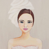 Girl Portrait- Fashion Art- Romantic Painting- Gray and White Decor- Mixed Media- Acrylic on Canvas-14X18 Inches.