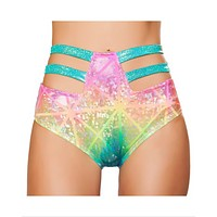 Printed High-Waisted Strapped Booty Shorts