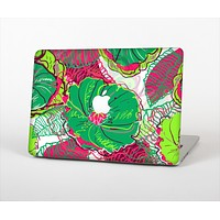 """The Vibrant Green & Coral Floral Sketched Skin Set for the Apple MacBook Pro 13"""" with Retina Display"""