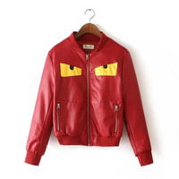 Red Eye Pattern Biker  Bomber Jacket