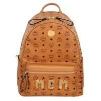 MCM Tan Studded Stark Backpack