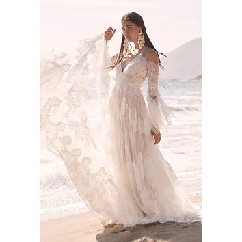 Willowby by Watters Marcail 54711 Boho Illusion Off The Shoulder A-Line Lace Wedding Dress