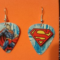 Superman graphic guitar pick earrings