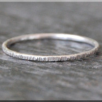 14k White Gold Twig Ring, Bark Texture Ring, 14k WG Stacking Ring, Sterling Silver Thin Stackable Ring, Woodland Ring, White Gold Ring