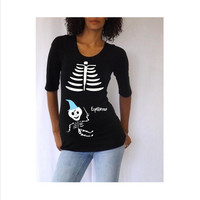 Maternity Halloween shirt  with Cute Harry Potter baby skeleton