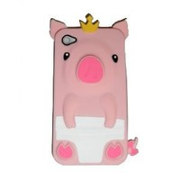 Pig 3D Cartoon Animal Silicone Gel Case for iPhone 4/4S/4G - Baby Pink
