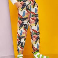 Tropical Print Elastic Waist Pants