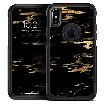 Black & Gold Marble Swirl V2 - Skin Kit for the iPhone OtterBox Cases