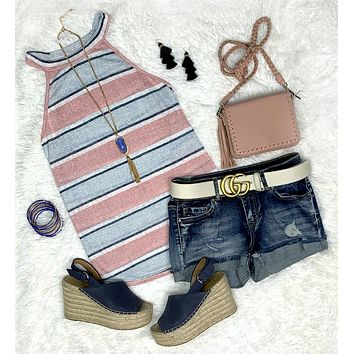 Sure of My Heart Blue Striped Tank