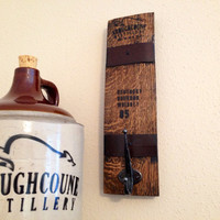 Bourbon Whiskey Barrel Reclaimed Wood Wall Hanger / Hanging Hook MADE TO ORDER