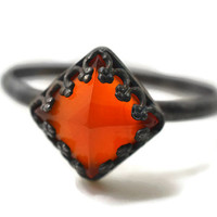 Fiery Red Pyramid Ring, Carnelian Ring, Oxidized Silver Ring, Natural Gemstone Ring, Cornelian Jewelry, Flame Jewel Ring, Cocktail Ring,