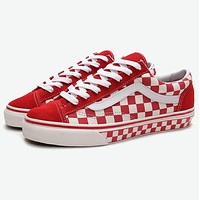 VANS Old Skool New Popular Women Men Red Checkerboard Canvas Canvas Sport Shoes Sneakers I-A36H-MY