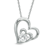 6.0mm Lab-Created White Sapphire Double Heart Pendant in Sterling Silver