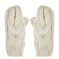 Cable Knit Mittens - Cream