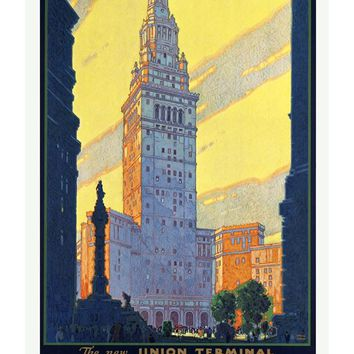 The Cleveland Ohio Union Terminal Poster