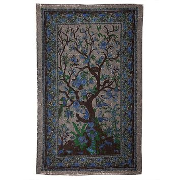 Tree Of Life Tan Indian Tapestry
