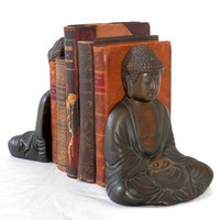 1922 Buddha Book Ends By Pompeian Bronze