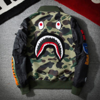 A Bathing Ape 2018 street fashion camouflage embroidery shark jacket baseball uniform