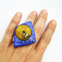 Royal blue and mustard geometric ring- polymer clay ring- abstract ring- galaxy inspired ring- royal blue and mustard- geometric jewelry