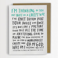 Awkward Thinking Of You Card, Funny Love Card