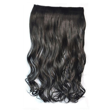 5 Cards Hair Extension Wig Long Curled Hair black