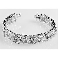 Scarlet CZ Cluster Statement Bracelet - 7.25in