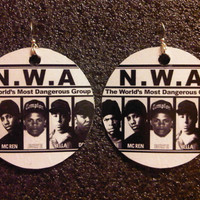 NWA Earrings FREE Shipping Worldwide Dr Dre Beats by Easy E Straight Outta Compton Ice Cube Niggaz Wit Attitudes