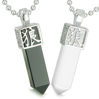 Love Couple Reversible Magic Kanji Wolf Paw Yin Yang Simulated Onyx White Cats Eye Pendant Necklaces