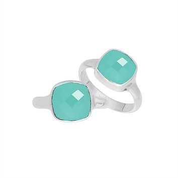 AR-6157-CH.G-6'' Sterling Silver Ring With Green Chalcedony Q.