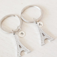 personalized keychain, eiffel tower key ring, building keychain, matching gift, bridesmaid, couples gift, customize keychain, paris key ring