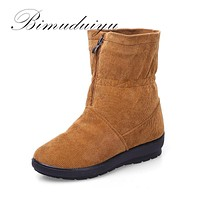 Snow Boots Flat Velvet Warm Student Boots Middle - aged Mother Cotton Shoes Corduroy Fabric Women Boots