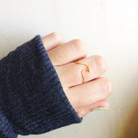 Wave Ocean Handmade Ring Adjustable Midi Stacking Surf Water Ring Gold and Silver Tone Rings