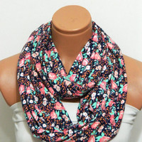 multicolors flowers Infinity Scarf,nomad scarf,,Loop Scarf,Circle Scarf, Multi-color cotton fabric Scarf,Cowl Scarf, Eternity Scarf