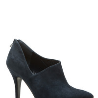 Navy Faux Suede Low Cut Pointed Booties