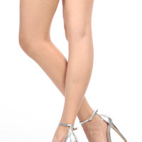 Silver Faux Leather Pointed Toe Ankle Strap Vinyl Heels