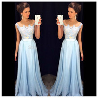 New Sexy Fashion Prom Dresses 2016 Scoop Neck Cap Sleeve Floor Length A-Line Beading Chiffon Long Evening Dress Vestido longo