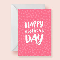 INSTANT DOWNLOAD - pink dots printable 5 x 7 mothers day card / dots pattern / pink card /  for mom / happy mothers day / mom / moms