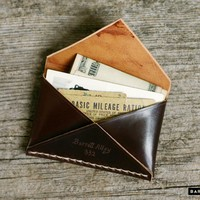 Leather Card Holder - The Shell Cordovan Disciple Wallet   Barrett Alley - Hand Made in USA.