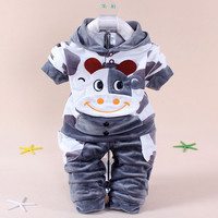 New Boys baby Girls Clothing Set Fleece Sport newborn Clothes Suit Cow Long Sleeve toddler tracksuit Cotton children boy Clothes