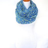 Infinity Blue Scarf with Yellow Bird Print, Spring Fashion Scarf, Women's Scarf, Gift For Her, Boho Shawl, Bohemian Accessories