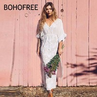 BOHOFEE White Floral Embroidery Long Robe V Neck Split Hem Holiday Beach Vestidos Women Maxi Hippie Boho Style Embroidered Dress